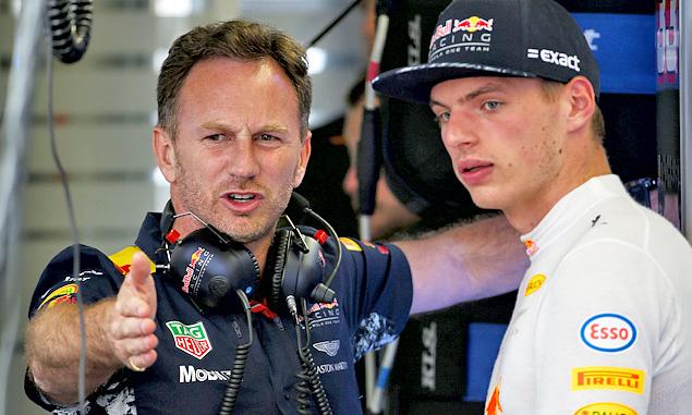 Christian Horner and Max Verstappen, Red Bull Racing