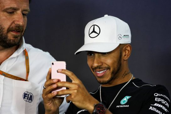 Lewis Hamilton (GBR) Mercedes AMG F1 in the FIA Press Conference.
