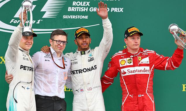 British Grand Prix podium: Valtteri Bottas, Lewis Hamilton, Kimi Raikkonen