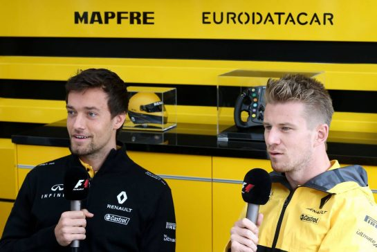 Jolyon Palmer (GBR) Renault Sport F1 Team  and Nico Hulkenberg (GER) Renault Sport F1 Team 27.07.2017. Formula 1 World Championship, Rd 11, Hungarian Grand Prix, Budapest, Hungary, Preparation Day.- www.xpbimages.com, EMail: requests@xpbimages.com - copy of publication required for printed pictures. Every used picture is fee-liable. © Copyright: Charniaux / XPB Images