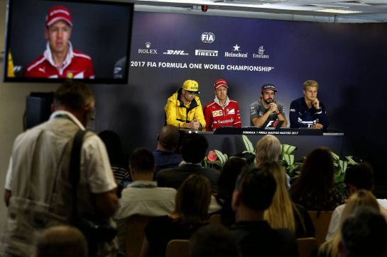 (L to R): Nico Hulkenberg (GER) Renault Sport F1 Team; Sebastian Vettel (GER) Ferrari; Fernando Alonso (ESP) McLaren; and Marcus Ericsson (SWE) Sauber F1 Team, in the FIA Press Conference. 27.07.2017. Formula 1 World Championship, Rd 11, Hungarian Grand Prix, Budapest, Hungary, Preparation Day. - www.xpbimages.com, EMail: requests@xpbimages.com - copy of publication required for printed pictures. Every used picture is fee-liable. © Copyright: Moy / XPB Images