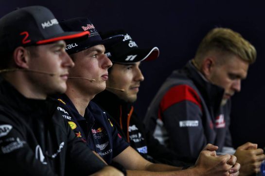 (L to R): Stoffel Vandoorne (BEL) McLaren; Max Verstappen (NLD) Red Bull Racing; Sergio Perez (MEX) Sahara Force India F1; and Kevin Magnussen (DEN) Haas F1 Team, in the FIA Press Conference. 27.07.2017. Formula 1 World Championship, Rd 11, Hungarian Grand Prix, Budapest, Hungary, Preparation Day. - www.xpbimages.com, EMail: requests@xpbimages.com - copy of publication required for printed pictures. Every used picture is fee-liable. © Copyright: Moy / XPB Images