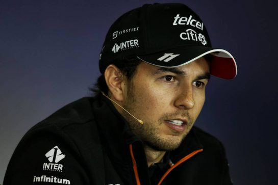 Sergio Perez (MEX) Sahara Force India F1 in the FIA Press Conference. 27.07.2017. Formula 1 World Championship, Rd 11, Hungarian Grand Prix, Budapest, Hungary, Preparation Day. - www.xpbimages.com, EMail: requests@xpbimages.com - copy of publication required for printed pictures. Every used picture is fee-liable. © Copyright: Moy / XPB Images