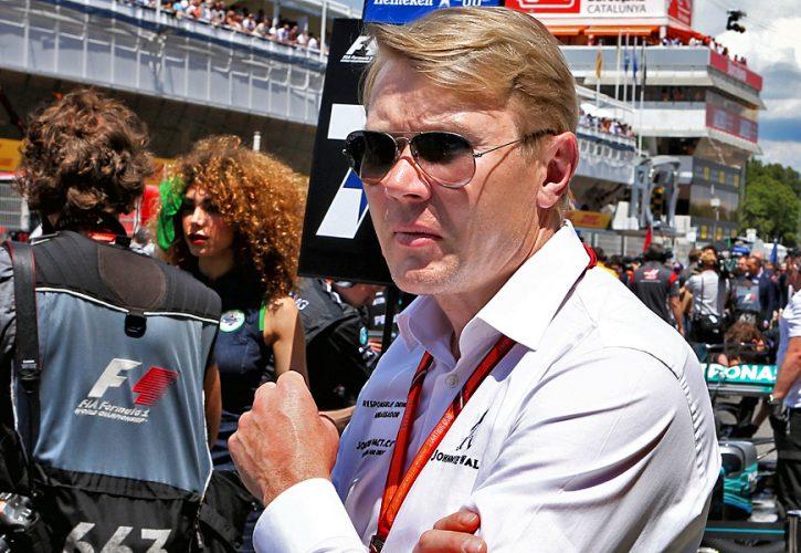 Mika Hakkinen on the grid at the Spanish Grand Prix
