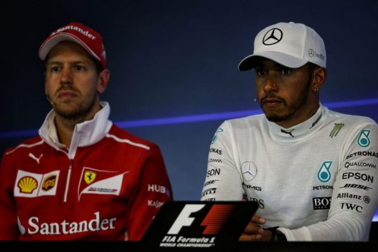 (L to R): Sebastian Vettel (GER) Ferrari and Lewis Hamilton (GBR) Mercedes AMG F1 in the post race FIA Press Conference. 27.08.2017. Formula 1 World Championship, Rd 12, Belgian Grand Prix, Spa Francorchamps, Belgium, Race Day. - www.xpbimages.com, EMail: requests@xpbimages.com - copy of publication required for printed pictures. Every used picture is fee-liable. © Copyright: Moy / XPB Images
