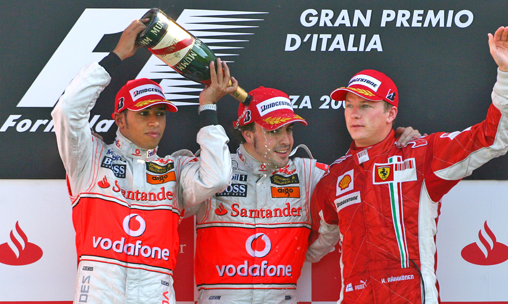 Look back: the podium of the 2007 Italian Grand Prix, September 9.