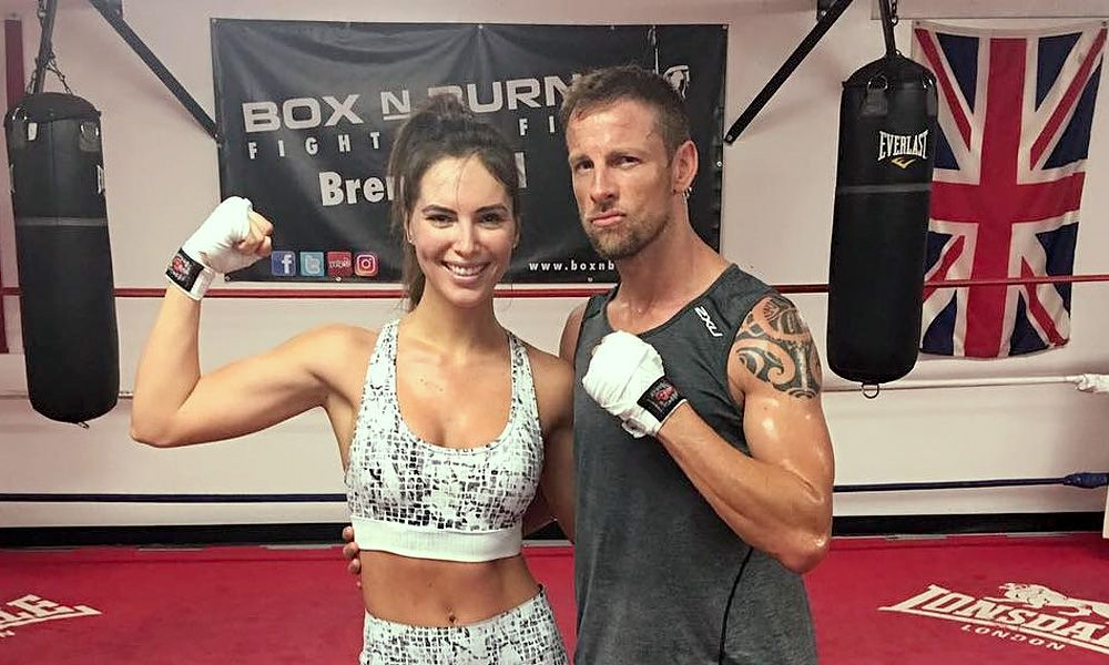Jenson Button cross-training with his girlfriend in an LA boxing gym.