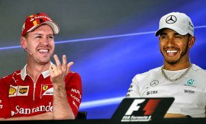 Sebastain Vettel (Ferrari), Lewis Hamilton (Mercedes), Abu Dhabi Grand Prix