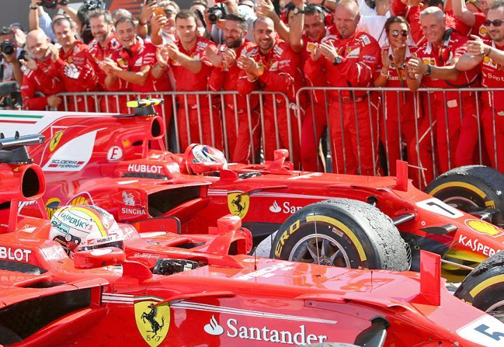 Sebastian Vettel, Kimi Raikkonen, Ferrari, Hungarian Grand Prix