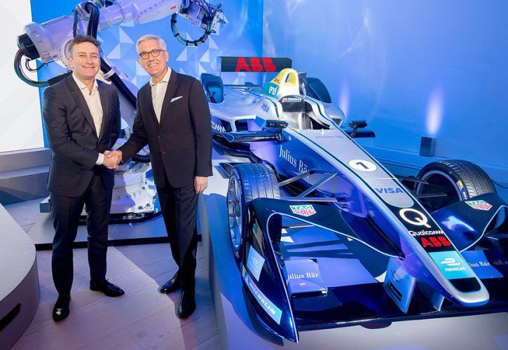 Formula E founder and chief executive Alejandro Agag and ABB CEO Ulrich Spiesshofer announce new title sponsorship deal.