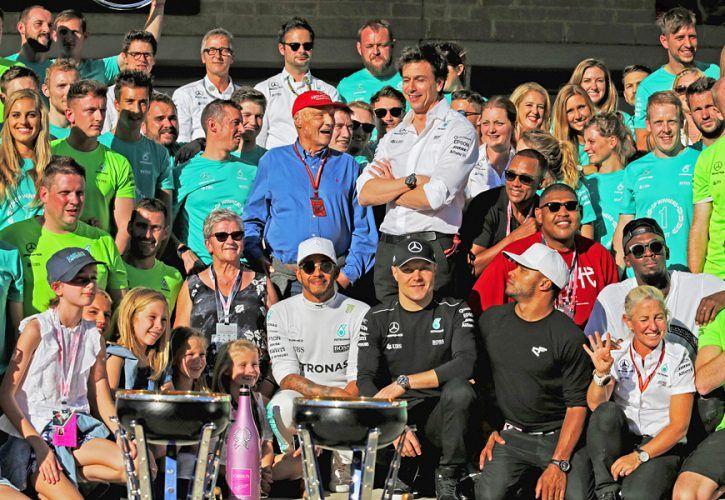 Mercedes AMG F1 celebrate winning the Constructors' Championship