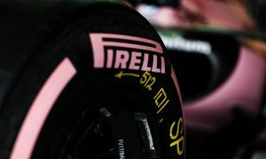 Pink striped Pirelli tyre