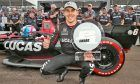 Robert Wickens with the Verizon P1 Award trophy