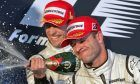 29.03.2009 Melbourne, Australia, Jenson Button (GBR), Brawn GP, Rubens Barrichello (BRA), Brawn GP on the podium