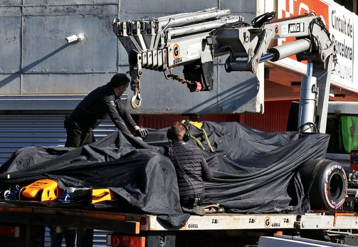 The McLaren MCL33 of Fernando Alonso (ESP) McLaren is recovered back to the pits