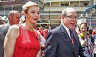 HSH Prince Albert of Monaco (MON) with Princess Charlene of Monaco on the grid.