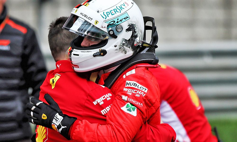 Chinese Grand Prix: Sebastian Vettel (GER) Ferrari celebrates his pole position