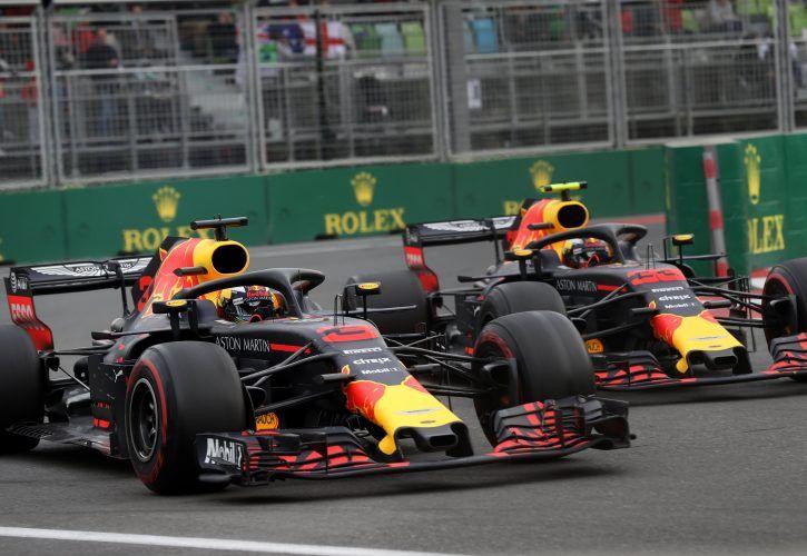 Red Bull's Daniel Ricciardo and Max Verstappen