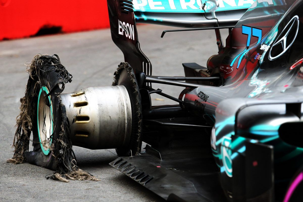 The punctured rear tyre of race retiree Valtteri Bottas (FIN) Mercedes