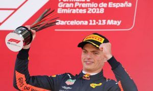 Max Verstappen, Red Bull Racing, celebrates on the podium after the 2018 Spanish Grand Prix