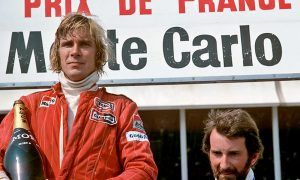 McLaren's James Hunt, winner of the 1976 French Grand Prix, with third-place John Watson.