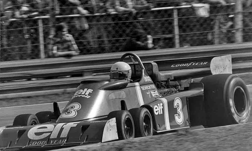 Jody Scheckter drives the Tyrrell P34 to victory in the Swedish Grand Prix - June 13 1976.