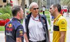 Red Bull's Christian Horner and Helmut Marko with Renault's Cyril Abiteboul