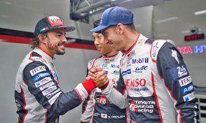 Fernando Alonso (ESP); Kazuki Nakajima (JPN); and Sebastien Buemi (SUI) celebrate pole position at Le Mans