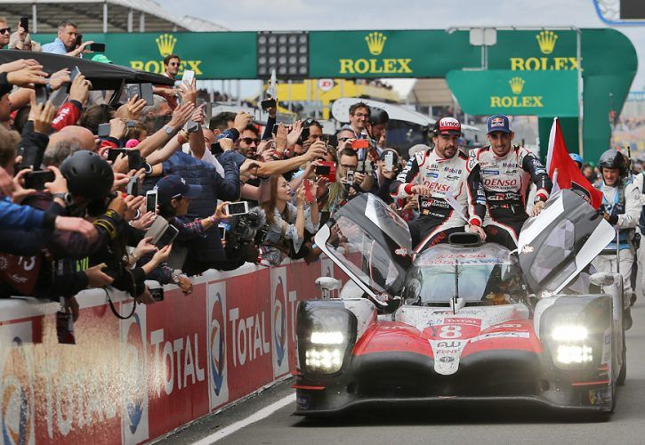 Le Mans winners Fernando Alonso (ESP); Kazuki Nakajima (JPN); and Sebastien Buemi (SUI) #08 Toyota