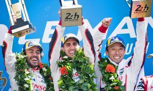 Race winners Fernando Alonso (ESP); Sebastien Buemi (SUI); and Kazuki Nakajima (JPN) #08 Toyota Gazoo Racing, celebrate on the podium
