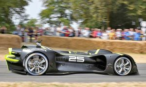 Roborace's artificial intelligence car on the hill run at the Goodwood Festival of Speed