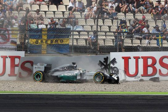 Lewis Hamilton (GBR) Mercedes AMG F1 W05 crashes out of the first session of qualifying. 19.07.2014. Formula 1 World Championship, Rd 10, German Grand Prix, Hockenheim, Germany, Qualifying Day.  - www.xpbimages.com, EMail: requests@xpbimages.com - copy of publication required for printed pictures. Every used picture is fee-liable. © Copyright: Herweg / XPB Images