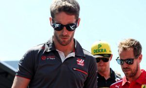 Romain Grosjean (FRA) Haas F1 Team on the drivers parade.