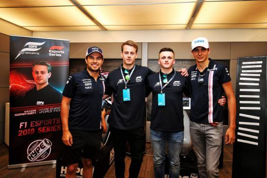 The Hype Energy eForce India team launch (L to R): Sergio Perez (MEX) Sahara Force India F1; Mads Sorensen (DEN) Hype Energy eForce India; Marcel Kiefer (GER) Hype Energy eForce India; Esteban Ocon (FRA) Sahara Force India F1 Team. 05.07.2018. Formula 1 World Championship, Rd 10, British Grand Prix, Silverstone, England, Preparation Day. - www.xpbimages.com, EMail: requests@xpbimages.com - copy of publication required for printed pictures. Every used picture is fee-liable. © Copyright: Moy / XPB Images