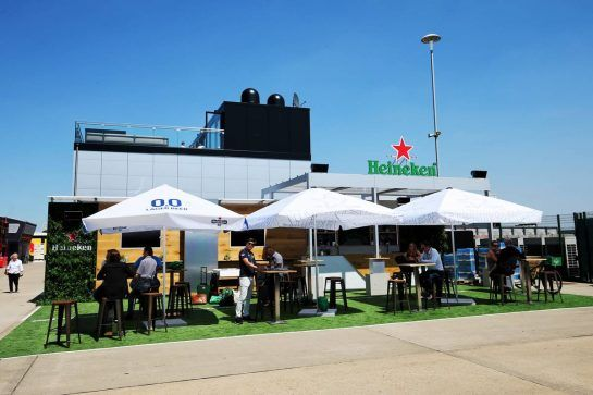 Heineken bar in the paddock. 05.07.2018. Formula 1 World Championship, Rd 10, British Grand Prix, Silverstone, England, Preparation Day. - www.xpbimages.com, EMail: requests@xpbimages.com - copy of publication required for printed pictures. Every used picture is fee-liable. © Copyright: Moy / XPB Images