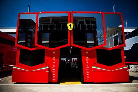 Ferrari trucks in the paddock. 05.07.2018. Formula 1 World Championship, Rd 10, British Grand Prix, Silverstone, England, Preparation Day.  - www.xpbimages.com, EMail: requests@xpbimages.com - copy of publication required for printed pictures. Every used picture is fee-liable. © Copyright: Rew / XPB Images