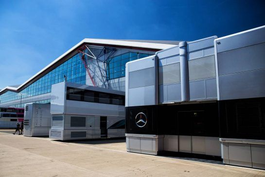 Mercedes AMG F1 trucks in the paddock. 05.07.2018. Formula 1 World Championship, Rd 10, British Grand Prix, Silverstone, England, Preparation Day.  - www.xpbimages.com, EMail: requests@xpbimages.com - copy of publication required for printed pictures. Every used picture is fee-liable. © Copyright: Rew / XPB Images