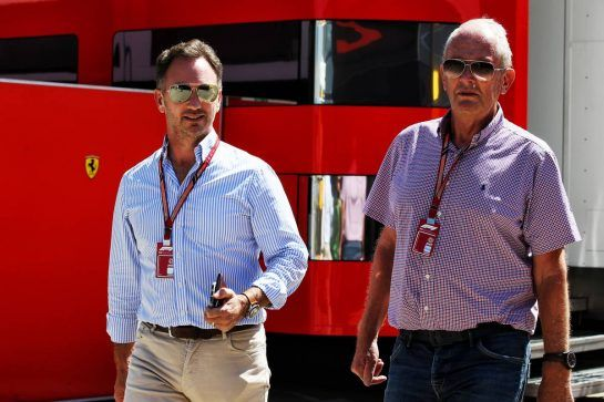 (L to R): Christian Horner (GBR) Red Bull Racing Team Principal with Dr Helmut Marko (AUT) Red Bull Motorsport Consultant. 05.07.2018. Formula 1 World Championship, Rd 10, British Grand Prix, Silverstone, England, Preparation Day. - www.xpbimages.com, EMail: requests@xpbimages.com - copy of publication required for printed pictures. Every used picture is fee-liable. © Copyright: Batchelor / XPB Images