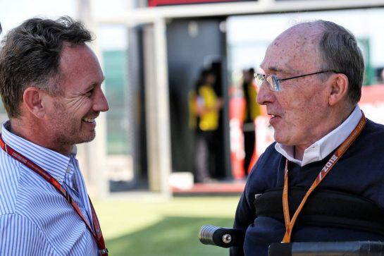 (L to R): Christian Horner (GBR) Red Bull Racing Team Principal with Frank Williams (GBR) Williams Team Owner. 05.07.2018. Formula 1 World Championship, Rd 10, British Grand Prix, Silverstone, England, Preparation Day. - www.xpbimages.com, EMail: requests@xpbimages.com - copy of publication required for printed pictures. Every used picture is fee-liable. © Copyright: Batchelor / XPB Images