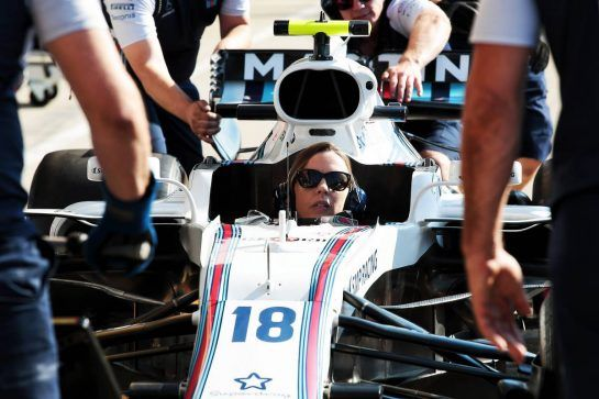 Claire Williams (GBR) Williams Deputy Team Principal practices a pit stop in the Williams FW41. 05.07.2018. Formula 1 World Championship, Rd 10, British Grand Prix, Silverstone, England, Preparation Day. - www.xpbimages.com, EMail: requests@xpbimages.com - copy of publication required for printed pictures. Every used picture is fee-liable. © Copyright: Photo4 / XPB Images