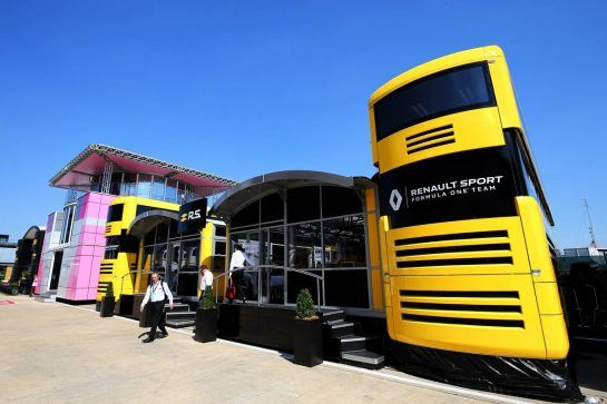 Renault Sport F1 Team motorhome. 05.07.2018. Formula 1 World Championship, Rd 10, British Grand Prix, Silverstone, England, Preparation Day. - www.xpbimages.com, EMail: requests@xpbimages.com - copy of publication required for printed pictures. Every used picture is fee-liable. © Copyright: Moy / XPB Images