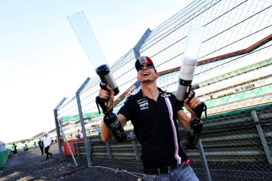 Esteban Ocon (FRA) Sahara Force India F1 Team Track with fans in the grandstand. 05.07.2018. Formula 1 World Championship, Rd 10, British Grand Prix, Silverstone, England, Preparation Day.  - www.xpbimages.com, EMail: requests@xpbimages.com - copy of publication required for printed pictures. Every used picture is fee-liable. © Copyright: Bearne / XPB Images