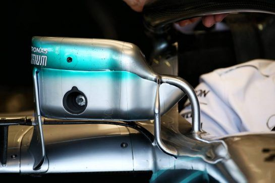 Mercedes AMG F1 W09 mirror detail. 06.07.2018. Formula 1 World Championship, Rd 10, British Grand Prix, Silverstone, England, Practice Day. - www.xpbimages.com, EMail: requests@xpbimages.com - copy of publication required for printed pictures. Every used picture is fee-liable. © Copyright: Batchelor / XPB Images