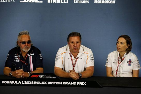The FIA Press Conference (L to R): Dr. Vijay Mallya (IND) Sahara Force India F1 Team Owner; Zak Brown (USA) McLaren Executive Director; Claire Williams (GBR) Williams Deputy Team Principal. 06.07.2018. Formula 1 World Championship, Rd 10, British Grand Prix, Silverstone, England, Practice Day. - www.xpbimages.com, EMail: requests@xpbimages.com - copy of publication required for printed pictures. Every used picture is fee-liable. © Copyright: Moy / XPB Images