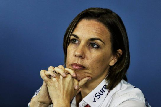 Claire Williams (GBR) Williams Deputy Team Principal in the FIA Press Conference. 06.07.2018. Formula 1 World Championship, Rd 10, British Grand Prix, Silverstone, England, Practice Day. - www.xpbimages.com, EMail: requests@xpbimages.com - copy of publication required for printed pictures. Every used picture is fee-liable. © Copyright: Moy / XPB Images