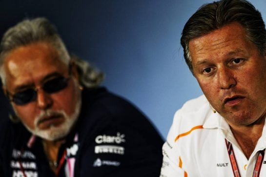 (L to R): Dr. Vijay Mallya (IND) Sahara Force India F1 Team Owner and Zak Brown (USA) McLaren Executive Director in the FIA Press Conference. 06.07.2018. Formula 1 World Championship, Rd 10, British Grand Prix, Silverstone, England, Practice Day. - www.xpbimages.com, EMail: requests@xpbimages.com - copy of publication required for printed pictures. Every used picture is fee-liable. © Copyright: Moy / XPB Images