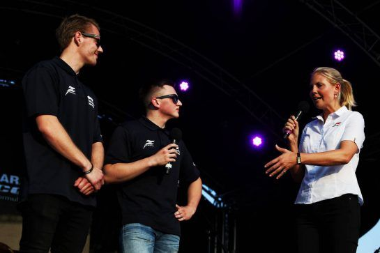 (L to R): Mads Sorensen (DEN) Hype Energy eForce India and Marcel Kiefer (GER) Hype Energy eForce India with Rosanna Tennant (GBR) F1 Presenter on stage at the Sahara Force India F1 Team Fan Zone. 06.07.2018. Formula 1 World Championship, Rd 10, British Grand Prix, Silverstone, England, Practice Day. - www.xpbimages.com, EMail: requests@xpbimages.com - copy of publication required for printed pictures. Every used picture is fee-liable. © Copyright: Moy / XPB Images