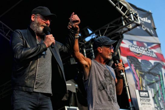 (L to R): Liam Cunningham (IRE) Actor and Eddie Jordan (IRE) on stage at the Sahara Force India F1 Team Fan Zone. 06.07.2018. Formula 1 World Championship, Rd 10, British Grand Prix, Silverstone, England, Practice Day. - www.xpbimages.com, EMail: requests@xpbimages.com - copy of publication required for printed pictures. Every used picture is fee-liable. © Copyright: Moy / XPB Images