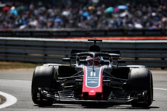 Romain Grosjean (FRA) Haas F1 Team VF-18. 07.07.2018. Formula 1 World Championship, Rd 10, British Grand Prix, Silverstone, England, Qualifying Day. - www.xpbimages.com, EMail: requests@xpbimages.com - copy of publication required for printed pictures. Every used picture is fee-liable. © Copyright: Batchelor / XPB Images