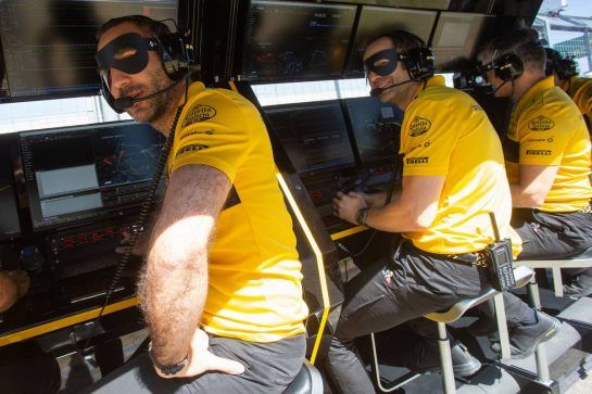 Cyril Abiteboul (FRA) Renault Sport F1 Managing Director and Ciaron Pilbeam (GBR) Renault Sport F1 Team Chief Race Engineer - Incredibles 2. 07.07.2018. Formula 1 World Championship, Rd 10, British Grand Prix, Silverstone, England, Qualifying Day.  - www.xpbimages.com, EMail: requests@xpbimages.com - copy of publication required for printed pictures. Every used picture is fee-liable. © Copyright: Bearne / XPB Images